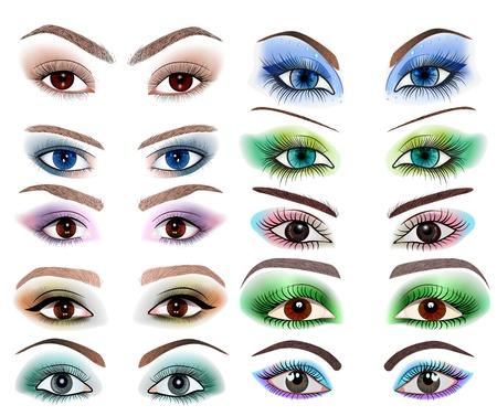 eyebrow makeup: illustrazione di una serie di occhi delle donne con un trucco diverso