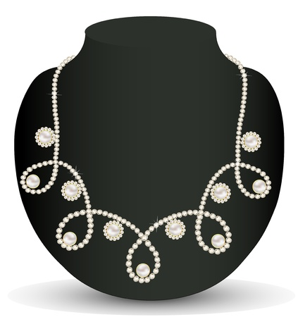 illustration necklace women for marriage with pearls and precious stones Vector