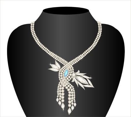 viso: boda ilustraci�n collar de las mujeres con las piedras preciosas