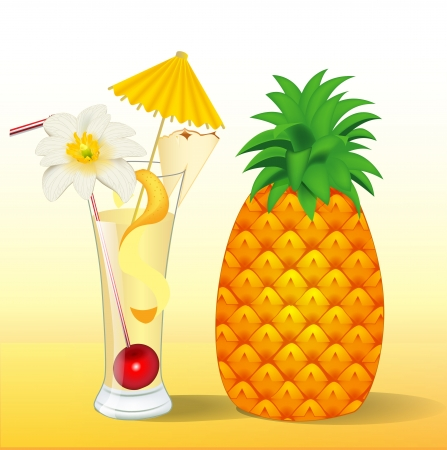 illustration of pineapple juice in a glass with a flower Vector