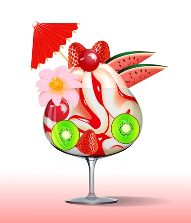 frozen dessert: illustration of ice cream with strawberry kiwi, cherry tree and flower