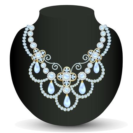 colliers: illustration des femmes collier bleu pour le mariage avec des perles et des pierres pr�cieuses
