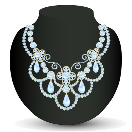 illustration necklace women blue for marriage with pearls and precious stones Vector