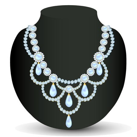 illustration necklace women for marriage with pearls Vector
