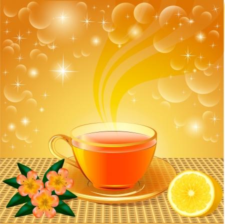 limon caricatura: ilustración de fondo con flores y té de limón