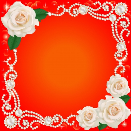 marital: illustration background with jewelry and wedding flower