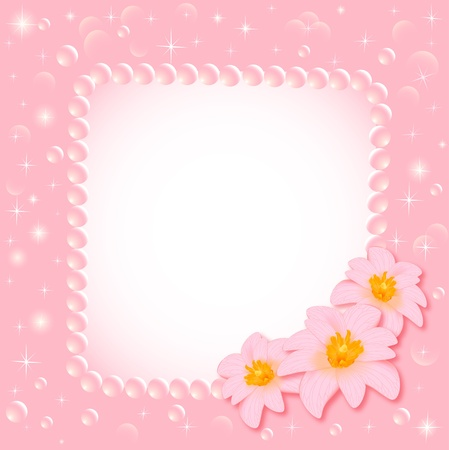 illustration of the background with the flower and the pearls Vector