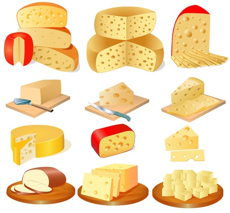 cheddar cheese: illustration of a set of different types of cheese
