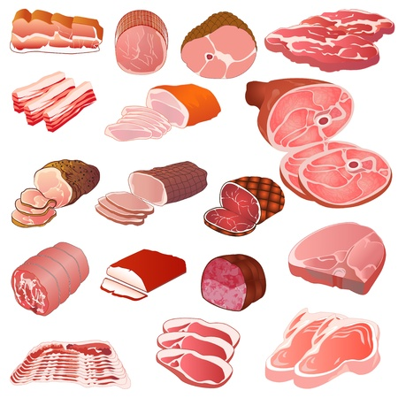 meat knife: illustration of a set of different kinds of meat Illustration