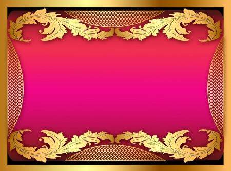 illustration of the pink background with gold ornament of leaves Stock Vector - 19085145