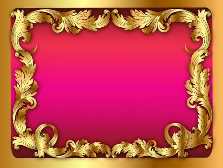 illustration of the pink background of the frame with the ornament of leaves Stock Vector - 19085155