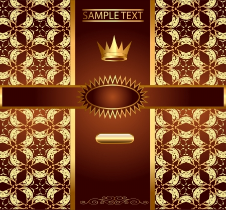 seamless metal: illustration background with gold ornaments and a crown Illustration