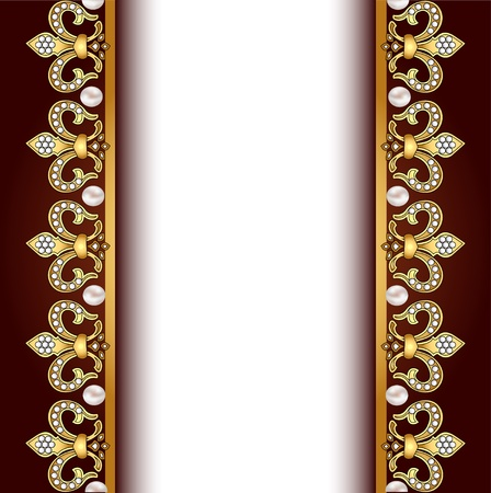 shiny gold: illustration background with gold ornaments and pearls