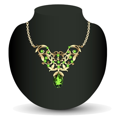 illustration of a necklace with emeralds and precious stones and earrings Vector