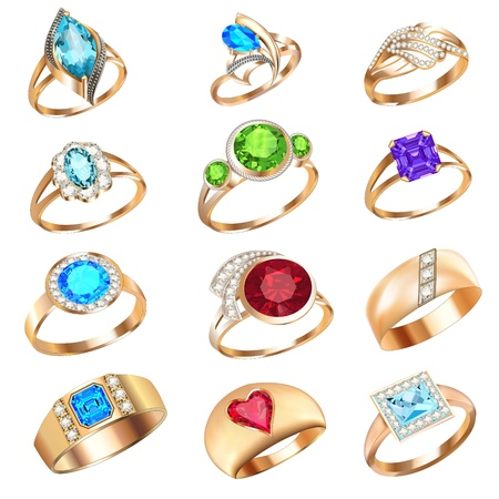 illustration  set of rings with precious stones on a white background Vettoriali