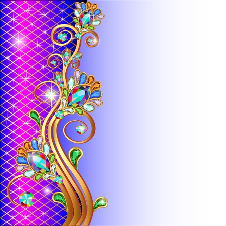 Illustratie achtergrond met edelstenen gouden ornamenten en sterren