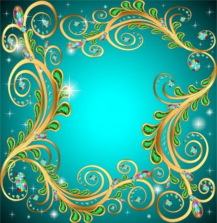 brillant: Abbildung Rahmen mit Juwelen und geometrischen Mustern in gold