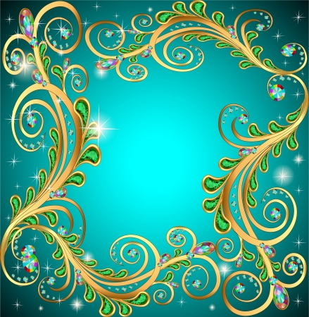 pietre preziose: cornice illustrazione con gioielli e disegni geometrici in oro