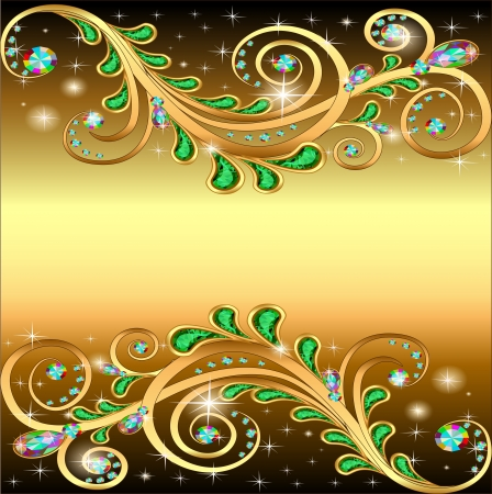 Illustration golden background with jewels ornament and stars Stock Vector - 19367477