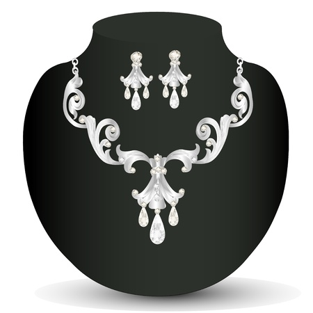illustration of a silver necklace womens wedding Vector