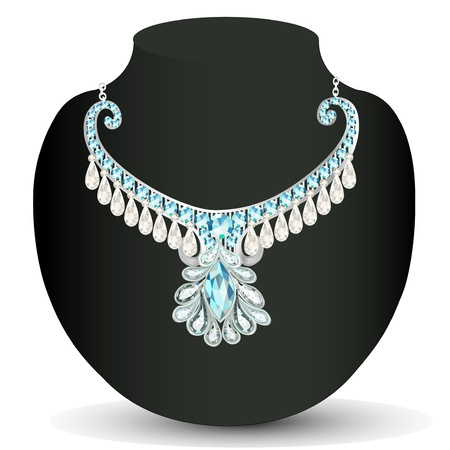sheen: illustration necklace womens wedding with precious stones Illustration