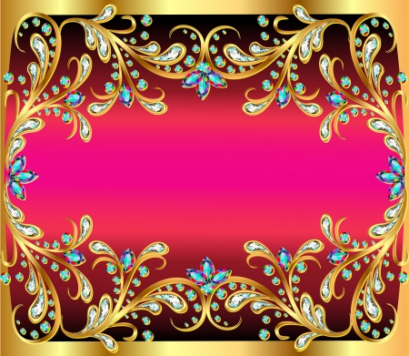 diamond shaped: illustration background with precious stones, gold pattern and the stars
