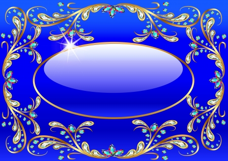 stone background: illustration background with precious stones, gold pattern and the glass ball Illustration