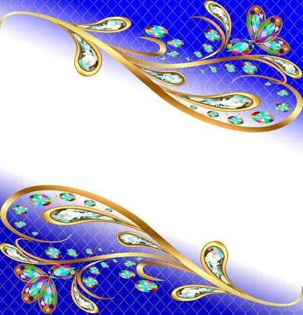 brilliant colors: illustration background with precious stones, gold pattern, and flowers Illustration