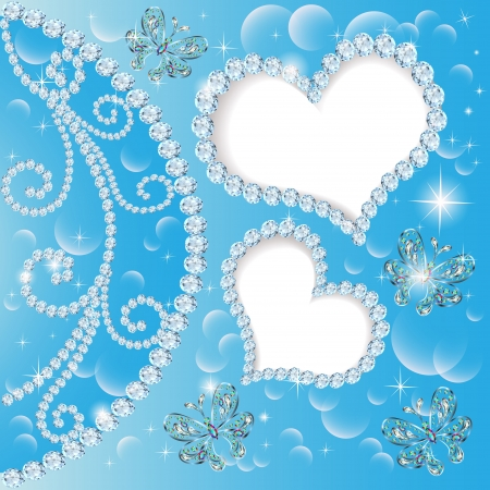 illustration background with hearts and butterflies made ​​of precious stones for a card Vector