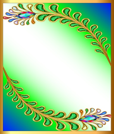 illustration background with peacock feather gem stones Vector
