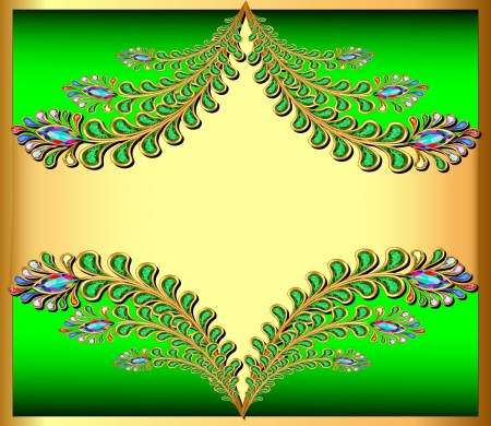 Illustration golden background with peacock feather gem stones Vector