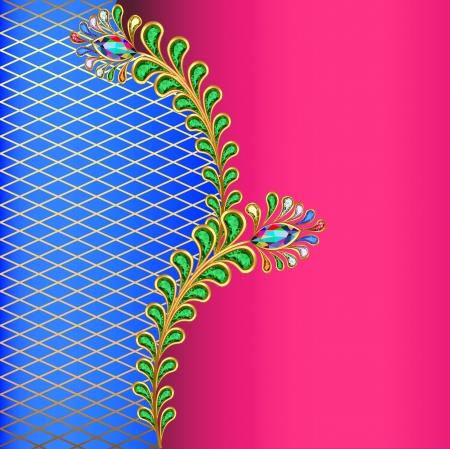 phoenix bird: illustration background with peacock feather jewelery and net