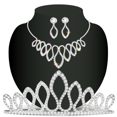illustration necklace diadem and earrings with white precious stones Vector