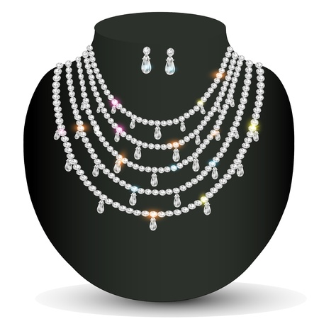illustration of a necklace and earrings with white precious stones Vector