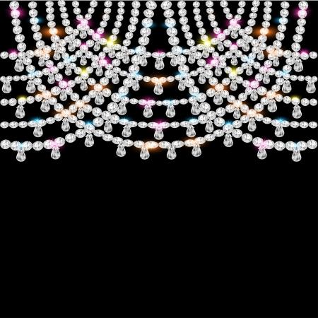 jeweled: illustration background with jeweled pendants on black