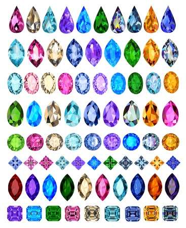 ruby stone: illustration set of precious stones of different cuts and colors