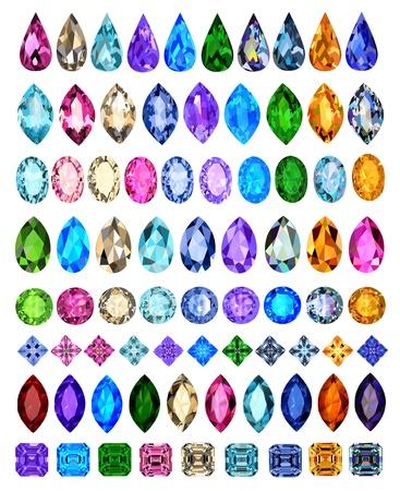 Ilustración conjunto de piedras preciosas de diferentes cortes y colores