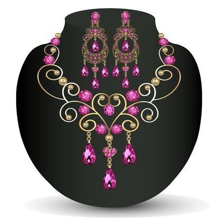 illustration of necklace with pink jewels and earrings Vector