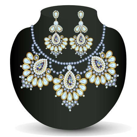 necklace: illustration of a necklace and earrings with pearls