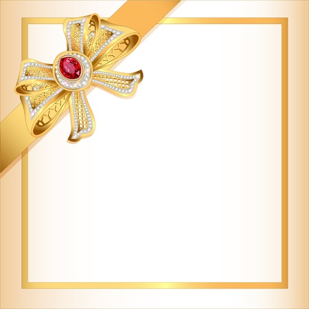 silk ribbon: illustration background with gold ribbon and jewels