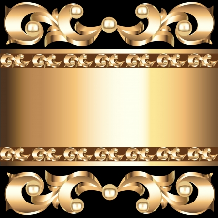 illustration background frame with vegetable voluminous gold(en) ornament Vector