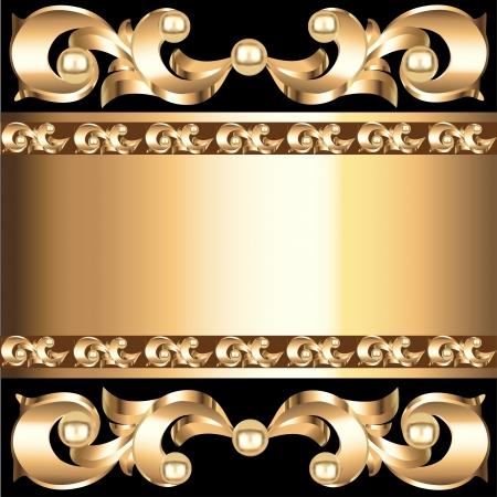 voluminous: illustration background frame with vegetable voluminous gold(en) ornament