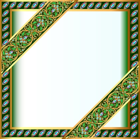 holiday celebrations: illustration backgrounds frame with jewels and geometric designs in gold