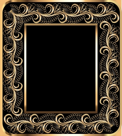 illustration background frame with vegetable gold(en) ornament Vector