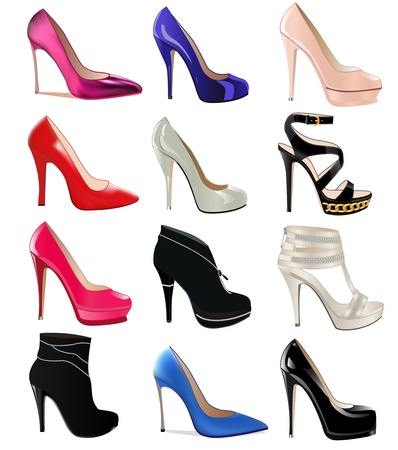 illustration set of women's shoes with heels Vettoriali