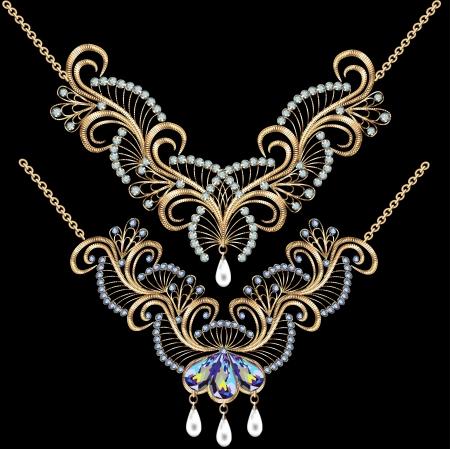 diamond jewelry: illustrazione collana donne per il matrimonio con perle e pietre preziose su un fondo nero Vettoriali