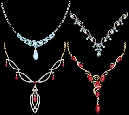 Ilustración de un conjunto de las mujeres collar de piedras preciosas