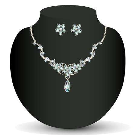sheen: illustration necklace and earrings womens wedding with precious stones