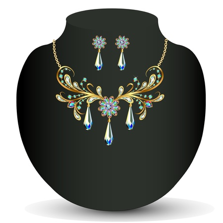 sheen: illustration of a Golden necklace and earrings womens wedding with precious stones