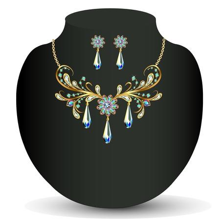 viso: ilustraci�n de un collar de oro y pendientes de la boda de la mujer con piedras preciosas